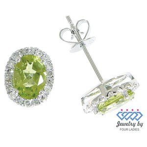 Peridot Diamond Fancy Stud Earrings 14K White Gold